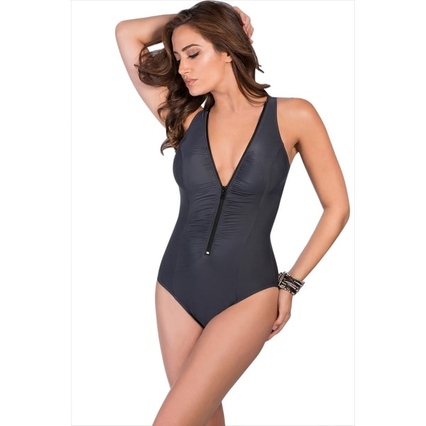 9cd118aa4b7 Shop Miraclesuit Charcoal Gray Blitz Zipper One Piece Swimsuit - Black - Free  Shipping Today - Overstock - 17662308