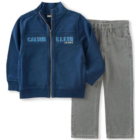 Calvin Klein Kids Boys 4-7 Fleece Zip Jacket Jean Set