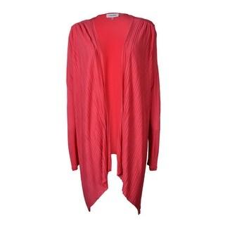 Calvin Klein Women's Long Sleeve Cascade Ruffle Pleated Flyaway - Watermelon - l