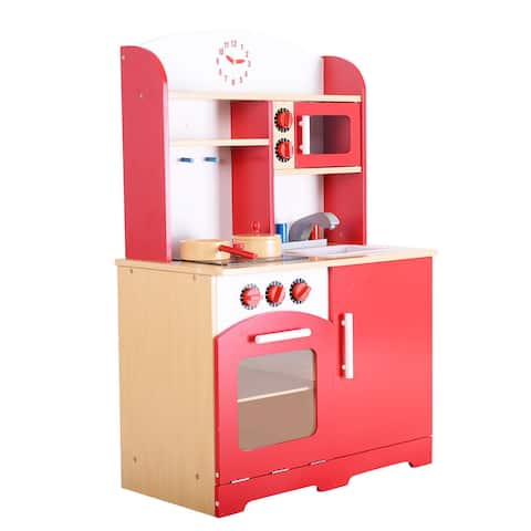 Costway Wood Kitchen Toy Kids Cooking Pretend Play Set Toddler Wooden