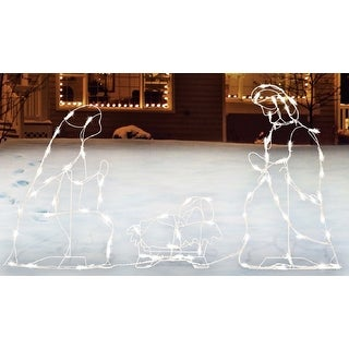 Sienna R6404123 Lighted Nativity Set Christmas Decoration, White, Metal