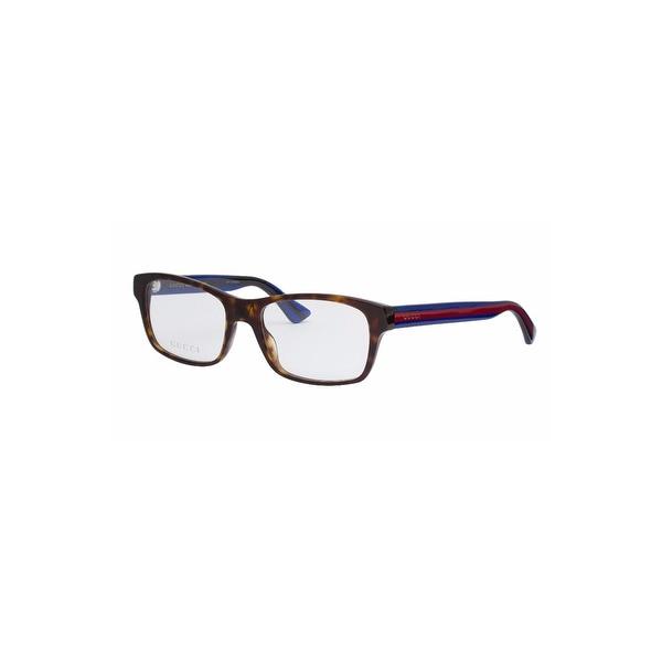 419a0ea1194 Gucci Ladies Rectangular Optical Glasses In Havana Blue - Havana Blue  Transparent - One Size