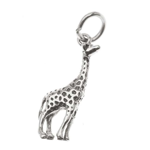 Sterling Silver Charm, Proud Giraffe 23mm, 1 Piece, Antiqued Silver