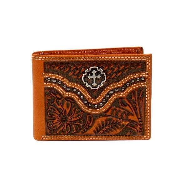 Ariat Western Wallet Mens Bi-Fold Passcase Leather Tan