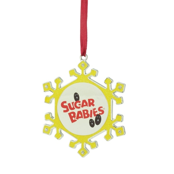 "3.5"" Silver Plated Snowflake Sugar Babies Candy Logo Christmas Ornament with European Crystals - YELLOW"