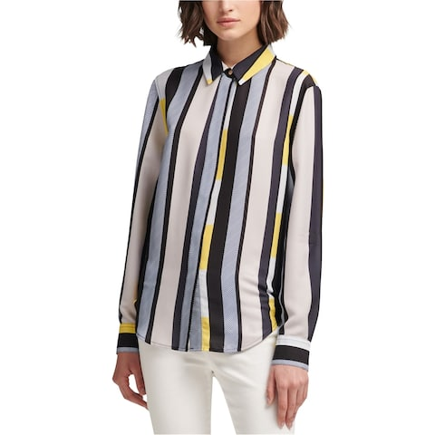 Dkny Womens Stripe Button Up Shirt