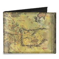 The Lord Of The Rings Middle Earth Map Tans Canvas Bi Fold Wallet One Size - One Size Fits most
