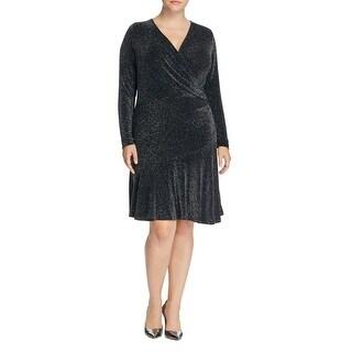 MICHAEL Michael Kors Womens Plus Evening Dress Long Sleeve Wrap