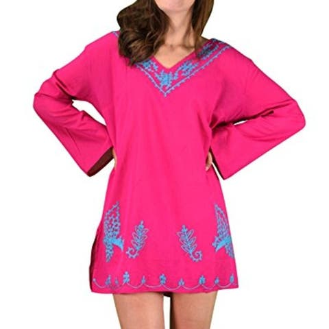 Peach Couture 100% Cotton Embroidered Summer Tunics Beach Cover Ups