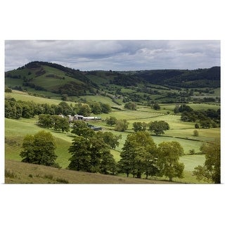 """""""Green valleys and hills with farm"""" Poster Print"""