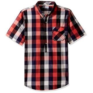 LRG NEW Red Black Mens Size Medium M Check Print Button Down Shirt