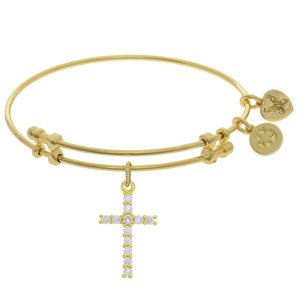 Angelica Collection Brass Cubic Zirconia Cross Charm on Bangle Bracelet