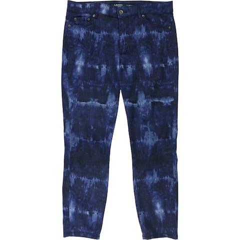 Ralph Lauren Womens Tie-Dye Fitted Jeans, Blue, 10