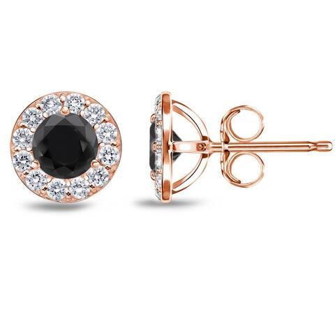 Auriya 1/2ct to 4ct Black Diamond Halo Stud Earrings 14k Rose Gold