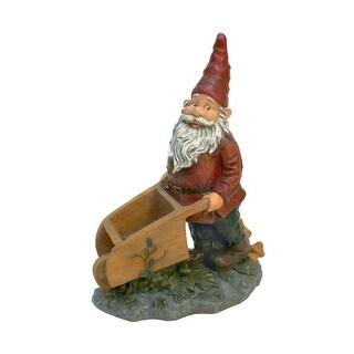Design Toscano Wheeler with the Wheelbarrow Garden Gnome Statue