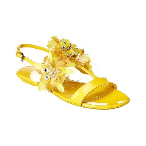 Prada Floral Applique Leather Sandal
