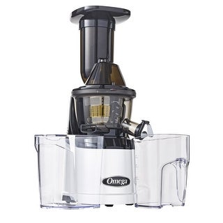 Omega Juicers MMV700S MegaMouth 3in Wide Feed Chute, Low Speed Juicer, Silver & Black