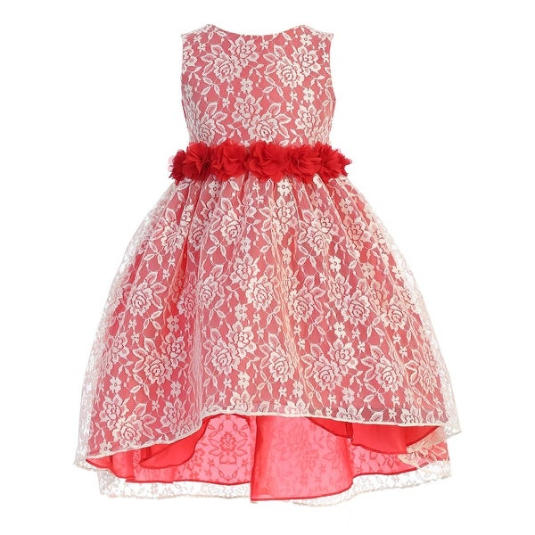 Ellie Kids Multi Color Lace Rhinestone Sash High Low Easter Dress Girls. Opens flyout.