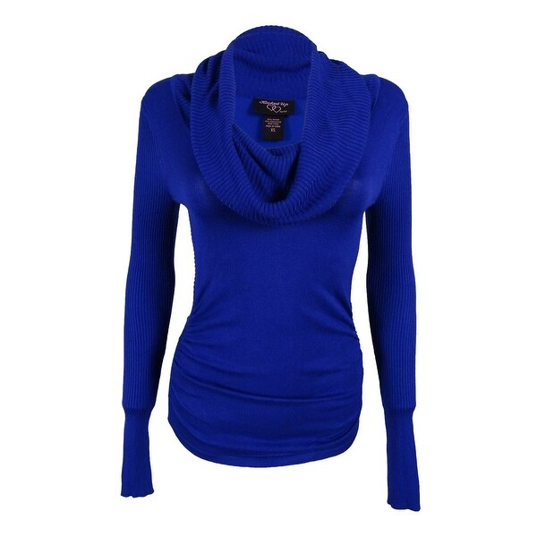 29a874b32 Shop Hooked Up by IOT Juniors' Cowl Neck Sweater - delphinium blue ...