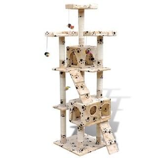 "vidaXL Cat Tree Scratching Post 67"" 2 Condos Beige with Paw Prints"