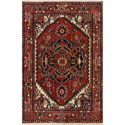 """Momeni Heirlooms Traditional Hand Knotted Wool Red Area Rug - 4'1"""" X 6'2"""""""