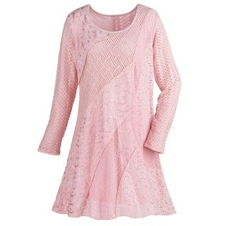 Women's Lace & Crochet Tunic Top - Pink Asymmetrical Textured Swirls Long Sleeve