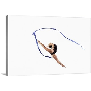 """Female Athlete Jumping Gracefully Mid Air With a Ribbon"" Canvas Wall Art"