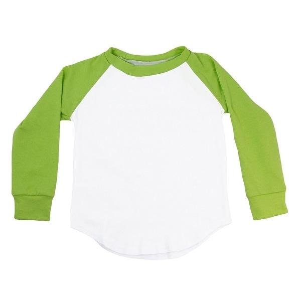 Unisex Baby Lime Green Two Tone Long Sleeve Raglan Baseball T-Shirt