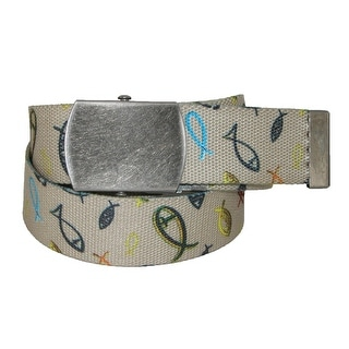 CTM® Men's Big & Tall Adjustable Belt with Christian Fish - One size