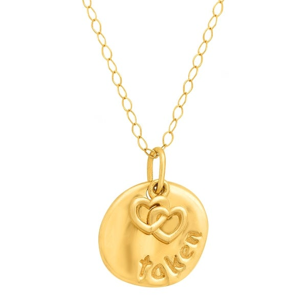 Just Gold Layered Circle & Heart Pendant in 14K Gold - Yellow
