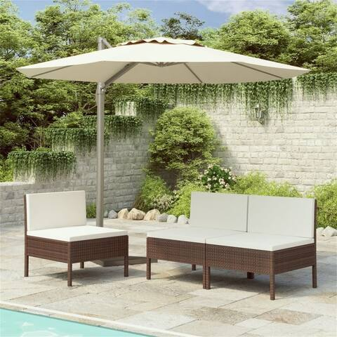 Brown Outdoor 3-pcs Garden Rattan Side Chairs with white Cushions