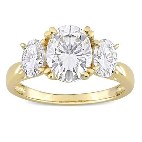 Miadora 10k Yellow Gold 3ct TGW Oval-cut Created White Moissanite 3-Stone Engagement Ring