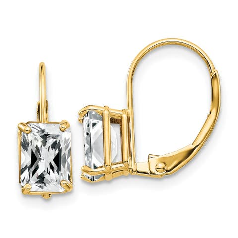 14K Yellow Gold 7x5mm Emerald Cut Cubic Zirconia Leverback Earrings by Versil