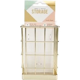 Wire System Metal Storage Bin-Small Gold