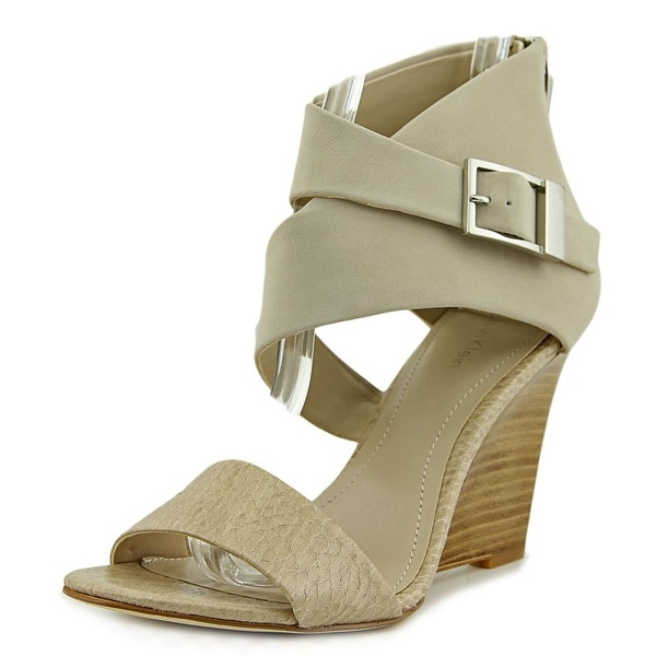 Calvin Klein Jeans Marisa Women Open Toe Leather Nude Wedge Sandal