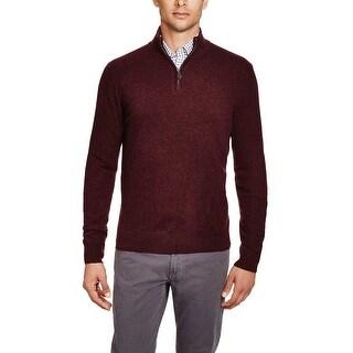 Bloomingdales Mens 2-Ply Cashmere Half Zip Mock Neck Sweater Large L Wine