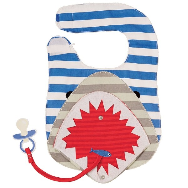 Shark Animal With Flap Mouth Blue and White Stripes Cloth Baby Boy Toddler Bib
