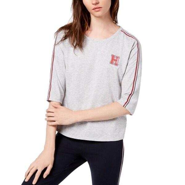 Tommy Hilfiger Gray Womens Size XXL Logo Elbow-Sleeve Stretch Top