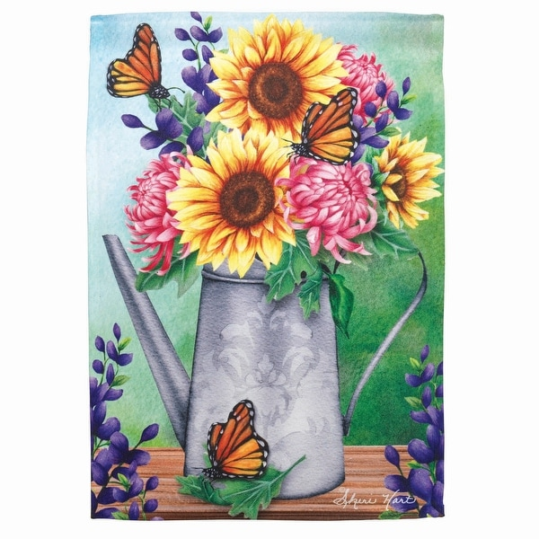 "Green and Yellow Watering Can with Sunflowers Printed Outdoor Garden Flag 18"" x 13"" - N/A"