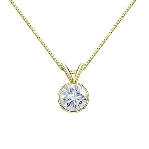 Auriya 14k Gold 1/2ct TW Round Bezel Set Moissanite Necklace Solitaire - 5 mm - 5 mm