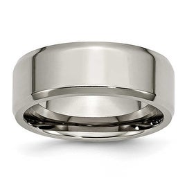 Chisel Beveled Edge Polished Titanium Ring (8.0 mm)
