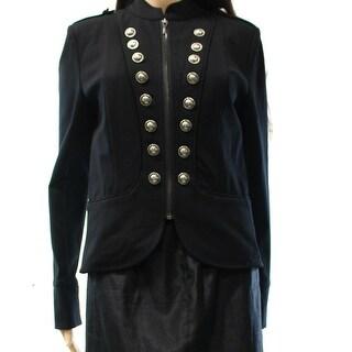 INC NEW Deep Black Women's Size Small S Full Zip Military Jacket