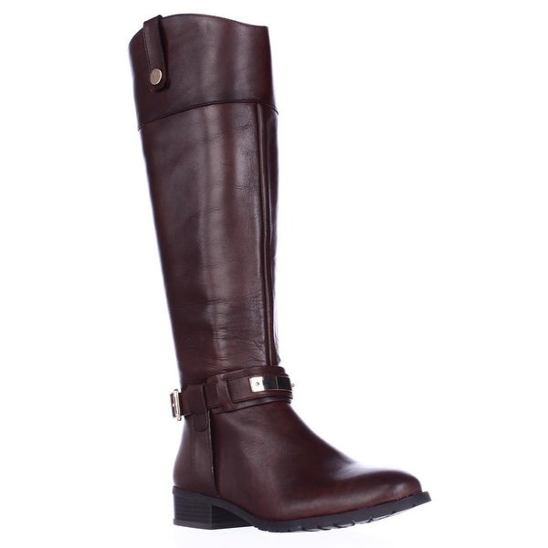 I35 Fabbaa Wide Calf Knee High Riding Boots, Cappuccino