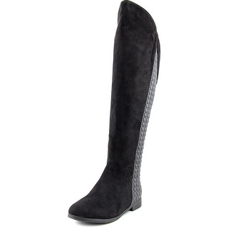 Chinese Laundry Racer Wide calf Women Round Toe Suede Black Knee High Boot