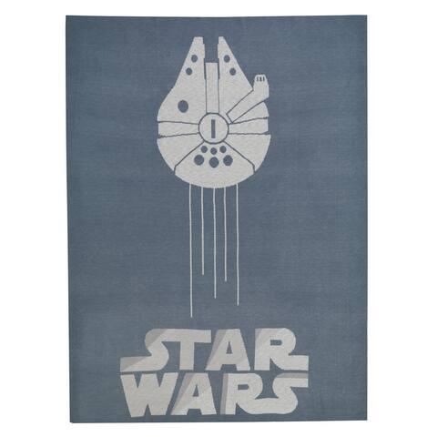 Lambs & Ivy Star Wars Signature Millennium Falcon Blue/Gray Knit Baby Blanket