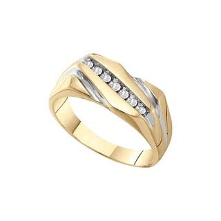 10k Yellow Gold Mens Round Natural Diamond Masculine 2-tone Wedding Band Ring 1/10 Cttw - White