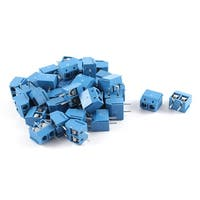 Unique Bargains 300V 10A 2P 5mm Pitch PCB Mounted Screw Terminal Block Connector 40pcs Blue