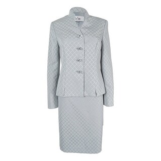 Le Suit Women's Printed Stand Collar Skirt Suit