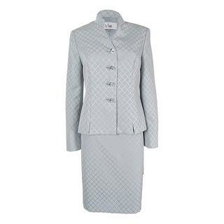 Le Suit Women's Printed Stand Collar Skirt Suit - Silver