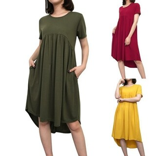 Women's Summer Short Sleeve High Low Pleated Swing Loose Casual Midi Dress